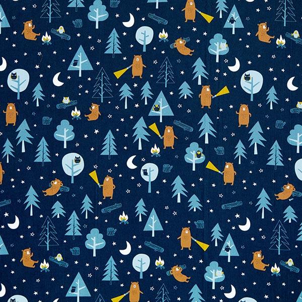 Baumwollpopeline Nachtwanderung   PETIT CITRON – marineblau/weiss