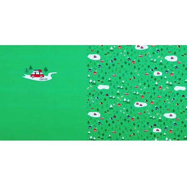 Jersey coton Panel Explore | PETIT CITRON – vert herbe/rouge vif