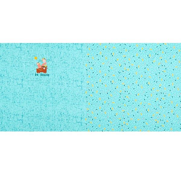 Jersey coton Panel Be brave | PETIT CITRON – bleu aqua/jaune