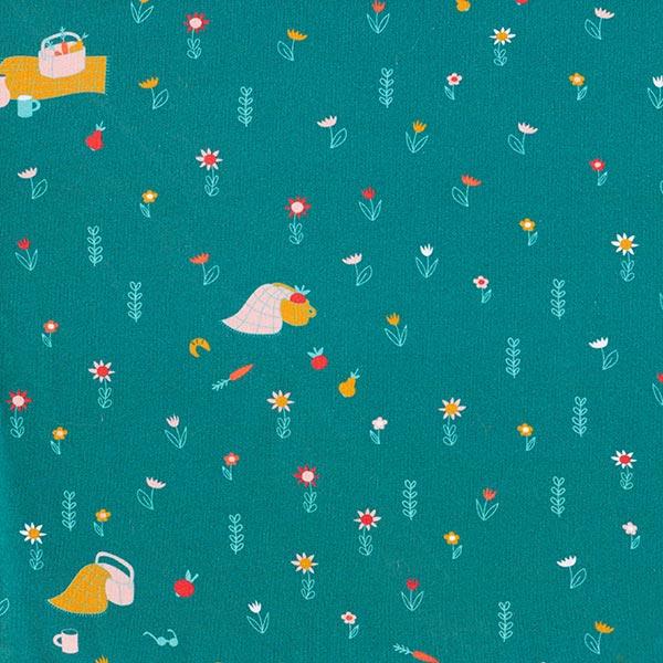 Baumwolljersey Picknick | PETIT CITRON – türkisblau