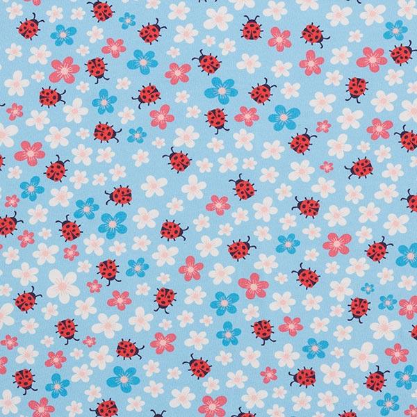 Baumwolljersey Blumen und Marienkäfer | PETIT CITRON – hellblau