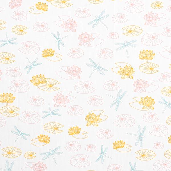 Baumwollpopeline Libellen und Seerosen | PETIT CITRON – wollweiss
