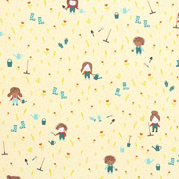 Baumwollpopeline Kinder im Garten | PETIT CITRON – lindgrün