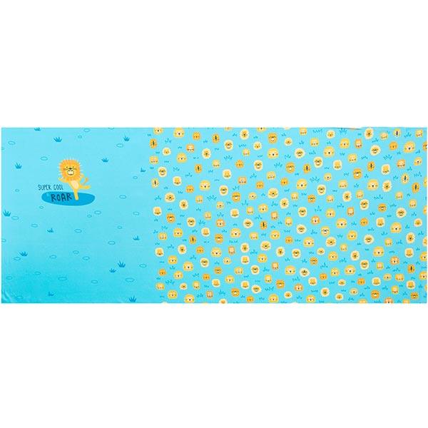 Baumwolljersey Panel Löwe | PETIT CITRON – hellblau