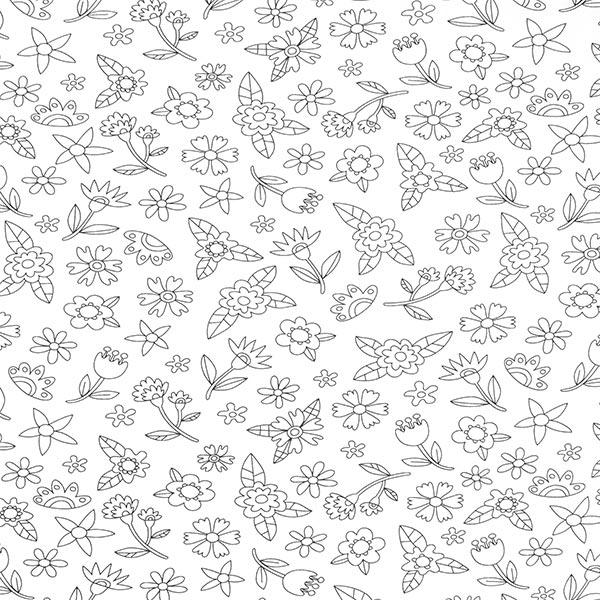 Ausmalstoff Baumwollpopeline Blumenwiese | PETIT CITRON – weiss/schwarz