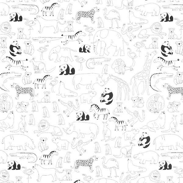 Ausmalstoff Baumwollpopeline Im Zoo | PETIT CITRON – weiss/schwarz