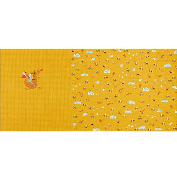 Baumwolljersey Panel mutiger Ritter  | PETIT CITRON – curry/hellbraun