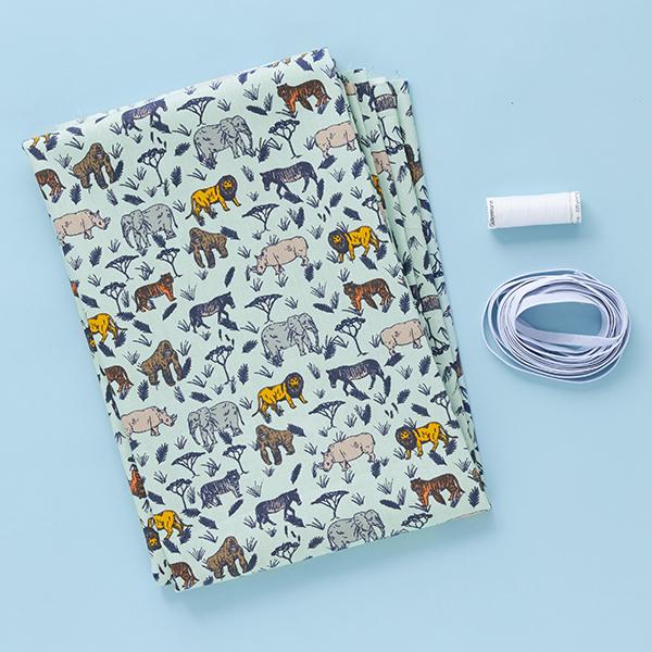 Mundschutz Nähset Baumwollstoff Safari Tiere [1-3 Stück] – hellblau