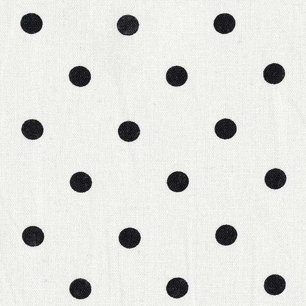 Blusenstoff Leinen-Baumwoll-Mix Punkte – wollweiss/schwarz