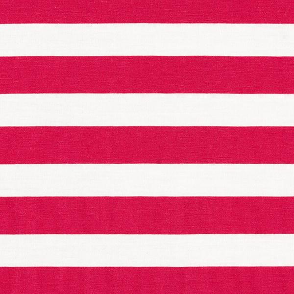 Jersey viscose Grosses rayures – rose vif/blanc