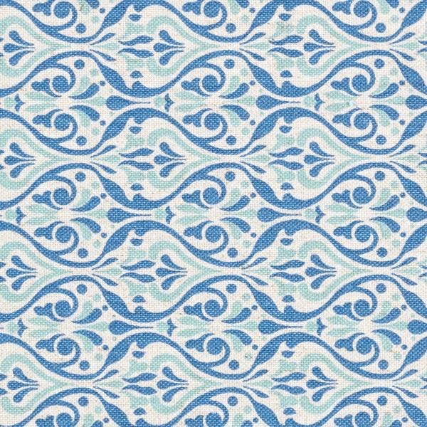 Dekostoff Leinenlook Ornamente – blau