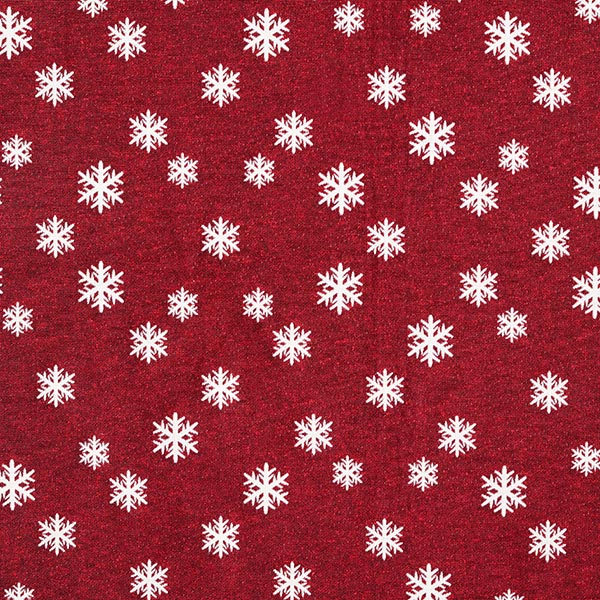 Weihnachtsstoff Jacquard Schneeflocke – wollweiss/karminrot