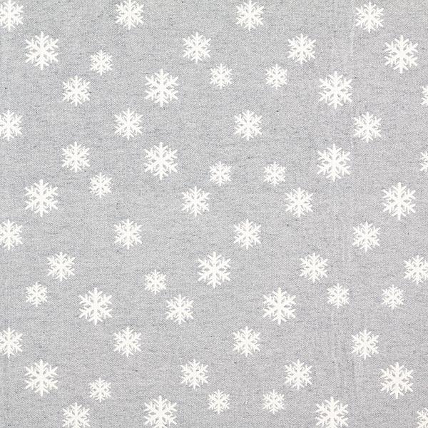 Weihnachtsstoff Jacquard Schneeflocke – wollweiss/hellgrau