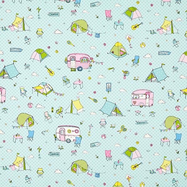 Tissu de décoration Canvas Camping – vert menthe