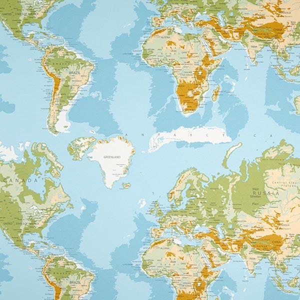 Dekostoff Ottoman Weltkarte – blau