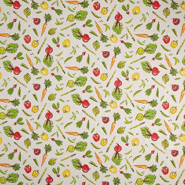 Tissu de décoration Semi-panama Légumes – beige