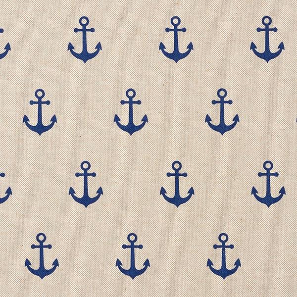 Dekostoff Halbpanama Anker – marineblau/natur