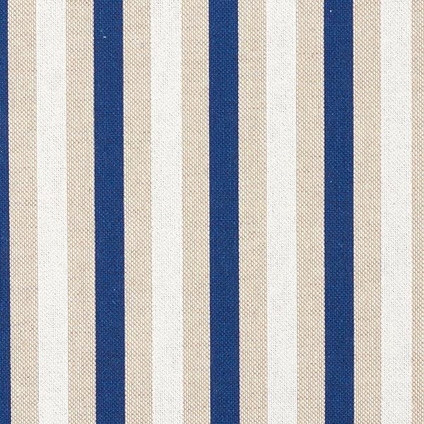 Dekostoff Halbpanama Streifen fein – marineblau/natur