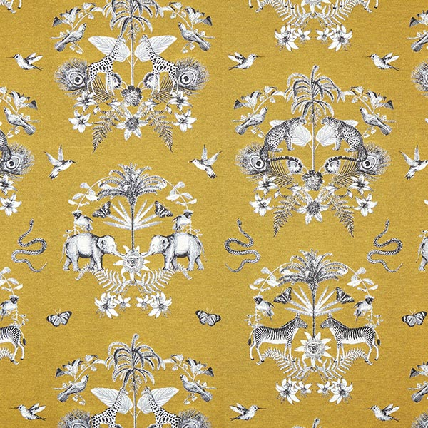 Jacquard Gobelin Animaux tropicaux – jaune