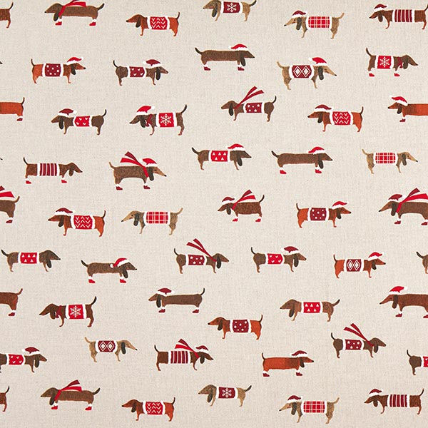 Tissu de décoration Semi-panama Teckel de Noël – rouge