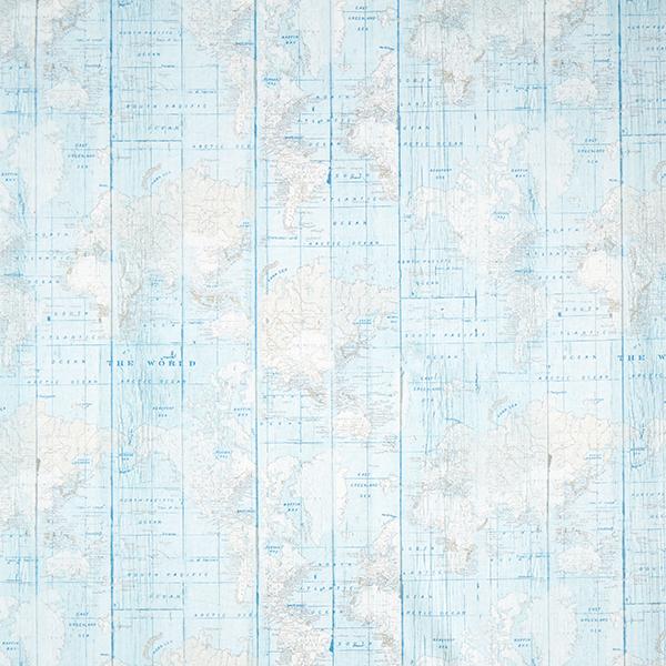 Tissu de décoration Canvas Planisphère – bleu clair