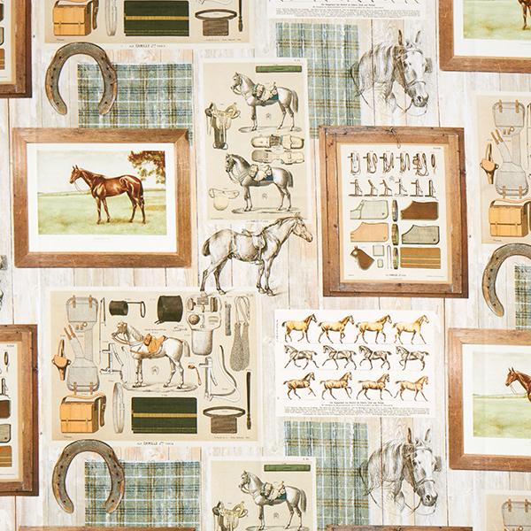 Tissu de décoration semi-panama Impression numérique Chevaux – nature