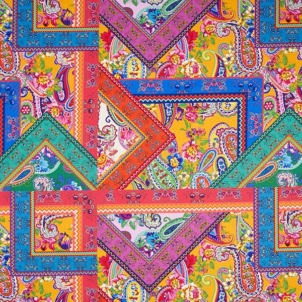 Dekostoff Halbpanama Digitaldruck Paisley – Farbmix