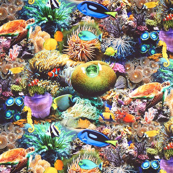 Tissu de décoration semi-panama Impression numérique Aquarium – mélange de couleurs