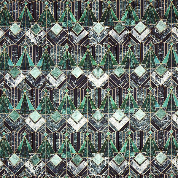 Tissu de décoration semi-panama Impression numérique Marbre – vert foncé