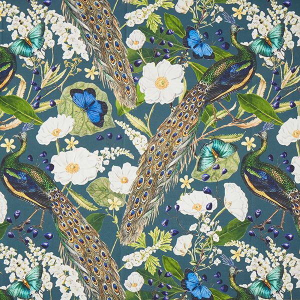 Tissu de décoration semi-panama Impression numérique Paon – vert foncé