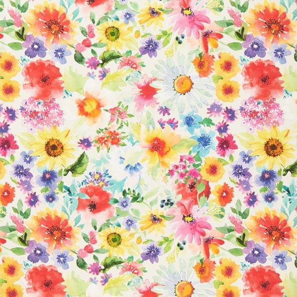 Outdoorstoff Aquarell Blumen – Farbmix
