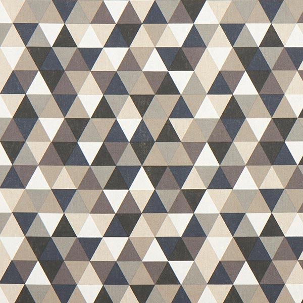 Dekostoff Halbpanama Dreiecke – beige/grau