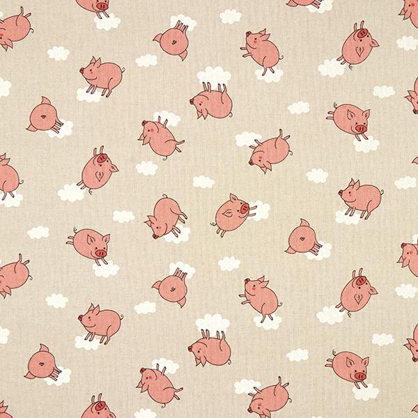 Dekostoff Halbpanama fliegende Schweine – natur