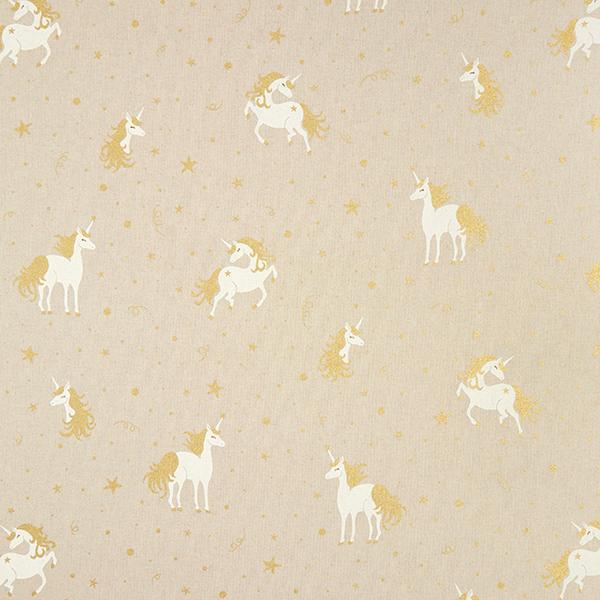 Tissu de décoration Semi-panama Licorne chatoyante – nature