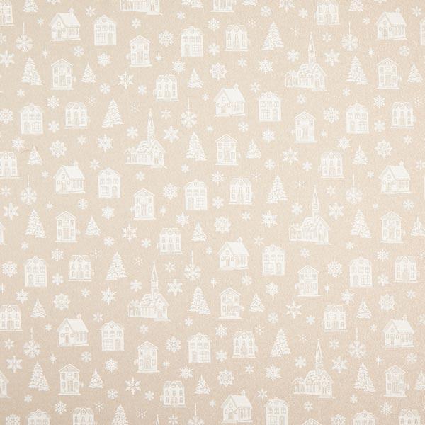Tissu de décoration Semi-panama Maisons en hiver scintillantes – blanc/nature
