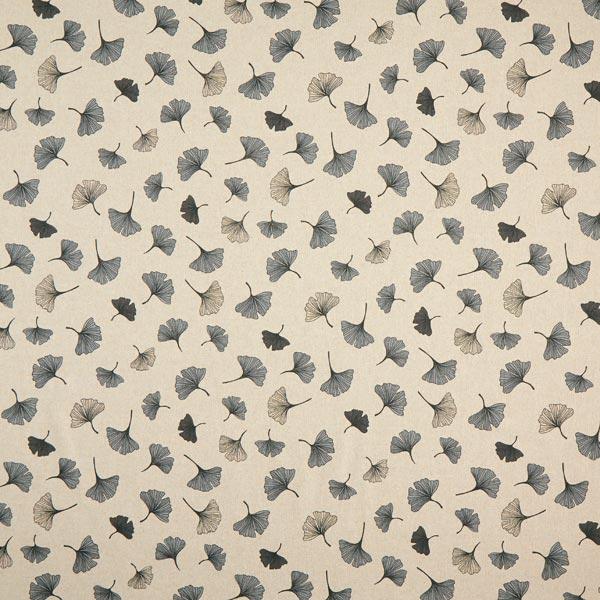 Dekostoff Halbpanama Ginkgoblätter – grau/natur