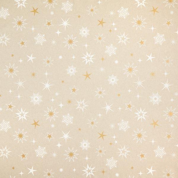 Tissu de décoration Semi-panama Etoiles scintillantes – or/blanc