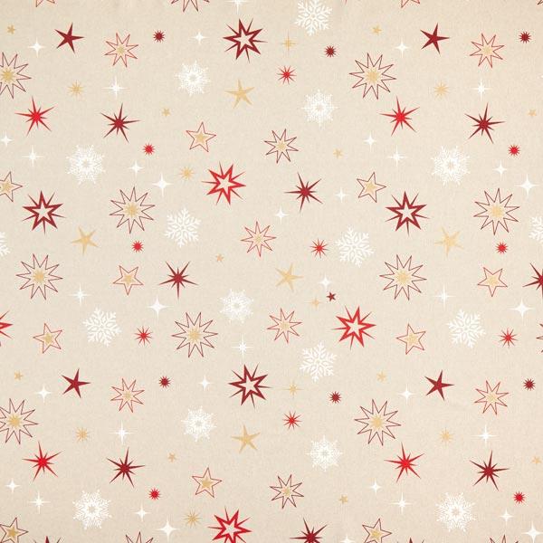 Tissu de décoration Semi-panama Etoiles scintillantes – or/rouge
