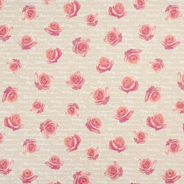 Tissu de décoration Semi-panama Roses romantiques – rose/nature