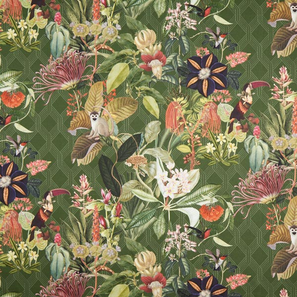 Tissu de décoration Semi-panama Exotique – vert foncé