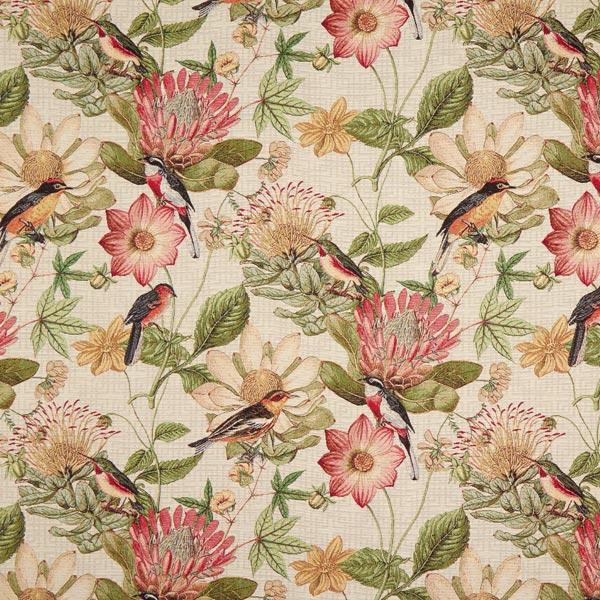 Dekostoff Gobelin Vögel – natur