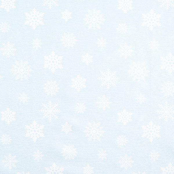 Tissu de décoration Jacquard Flocons de neige scintillants – bleu clair/argent