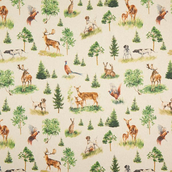 Tissu de décoration Semi-panama Animaux dans la forêt – nature
