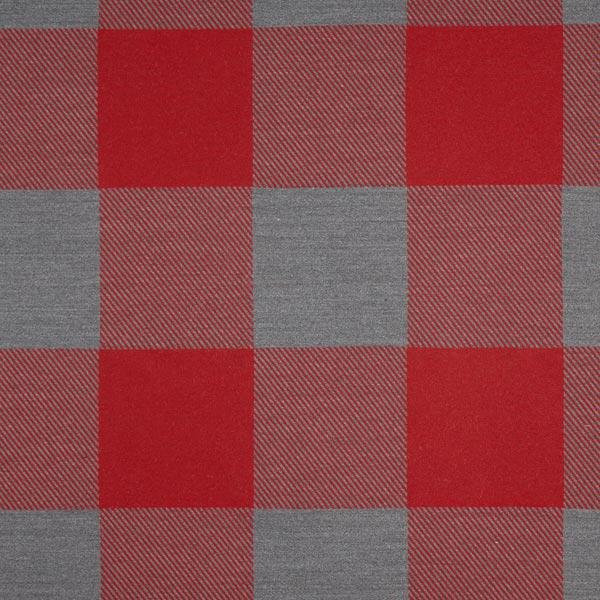 Dekostoff Jacquard Plaid Vichy – karminrot/grau