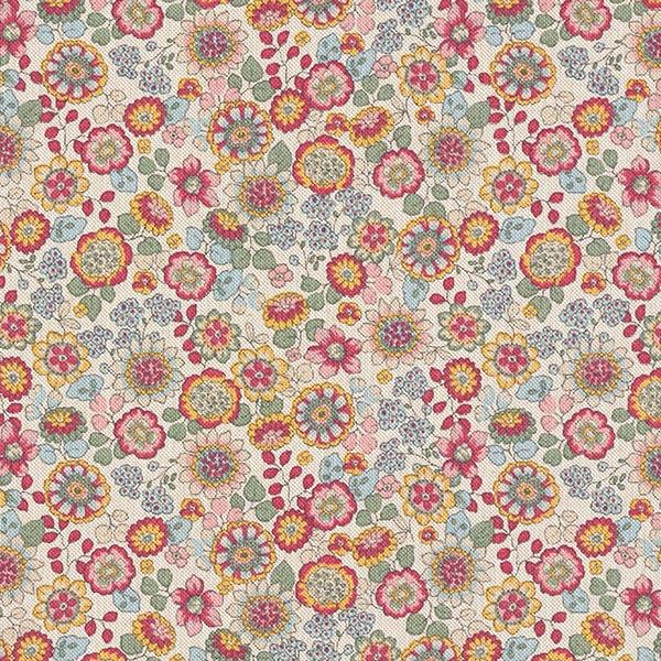 Dekostoff Halbpanama große Blüten   – natur/pink