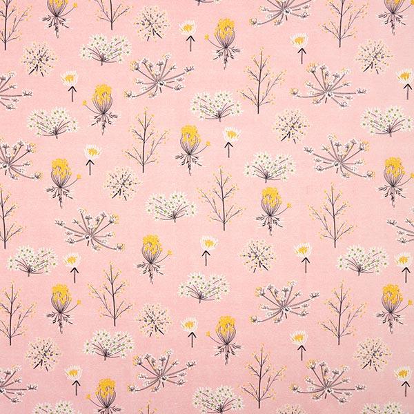 Dekostoff Canvas Trockenblumen – rosa/weiss