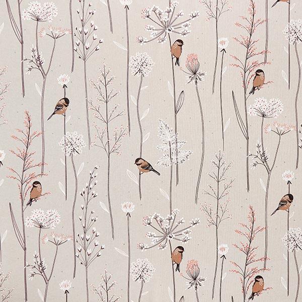 Dekostoff Halbpanama Vögel und Zweige – natur