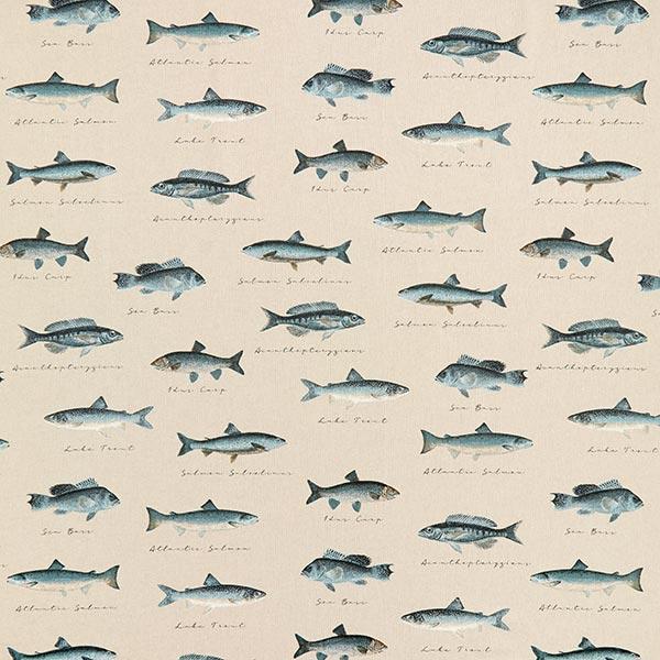 Dekostoff Halbpanama Fische – natur/blau