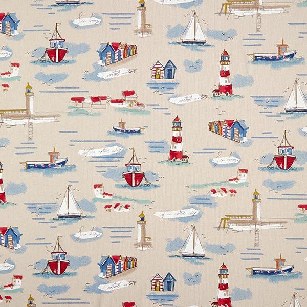 Tissu de décoration Semi-panama Bateaux – bleu/rouge
