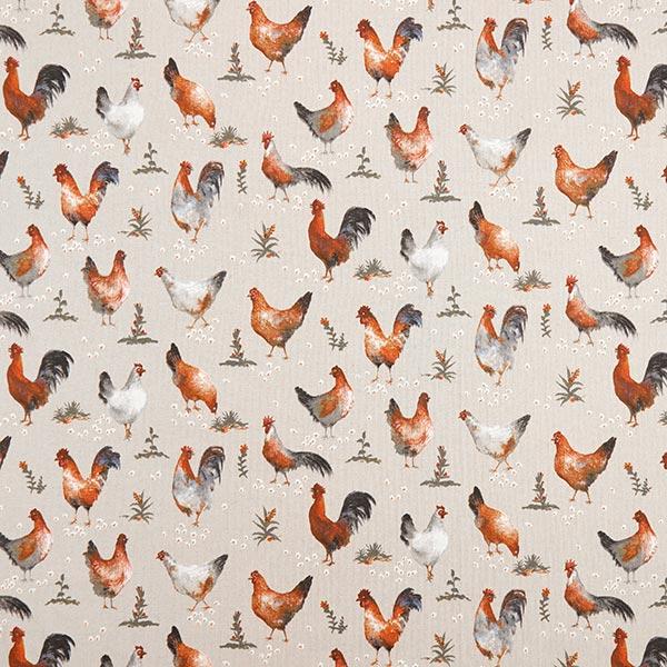 Dekostoff Halbpanama Hühner – natur/terracotta
